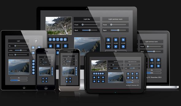 Web access to KNX and media control via smartphone or tablet